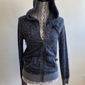 Authentic Roots Heathered Grey Zip Up Hoodie XS